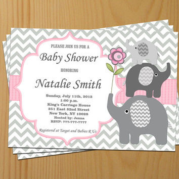 Baby Shower Invitation Girl Baby Shower Invitation Invite Elephant Baby Shower Invitation (50a) - Free Thank You Card - Instant Download