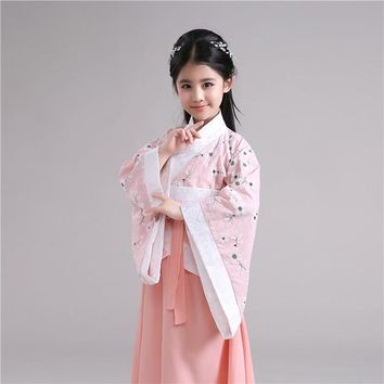 2017 autumn chinese silk clothing for girls hanfu dance costumes folk costume children traditional ancient kids tang fairy dress