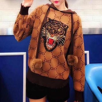 DCCKH3L Gucci' Women Fashion Sequin Tiger Head Embroidery Letter Knit Long Sleeve Hairball Pullover Hooded Sweater Tops