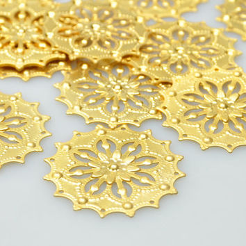 4 Pcs 22k Gold Plated Brass Jewelry Connectors, Matte Gold Fretwork Jewelry Connector, Jewelry Findings