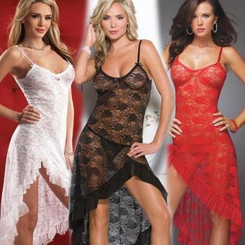 On Sale Cute Hot Deal Sexy Transparent Lace Prom Dress Set Exotic Lingerie [11407010511]