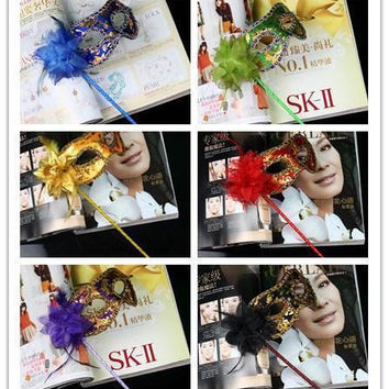 Hand Made Party Mask with stick Wedding Venetian Half face flower mask Halloween Masquerade Mask princess Braid Mardi Gras Mask 7 color M15