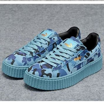 puma women casual running sport shoes sneakers camouflage blue  number 1