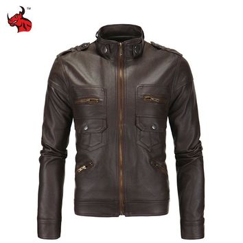 Trendy Mens Vintage Motorcycle Jacket Slim PU Leather Jacket Classical Moto Jacket Spring Autumn Stand Collar Motorcycle Clothing AT_94_13
