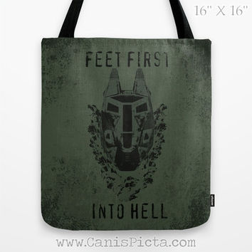 Halo Feet First into Hell ODST 13x13 Tote Bag Helmet Military Video Game Xbox Gamer Dad Boyfriend Guy Men For Him Gift OD Green Olive Drab