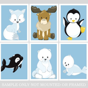 Arctic Animals Nursery Art Print Set of 6 - Fox, Seal, Polar Bear, Penguin, Moose and Whale - Multiple Sizes