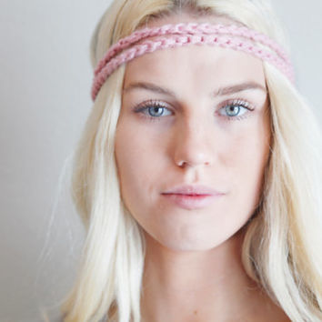 Double Strand Headband Double Braid Hair Band Hippy Style Boho Music Festival Hairwrap in Rose