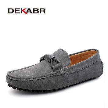 Men Cow Suede Loafers Spring Autumn Genuine Leather Driving Moccasins Slip on Men Casual Shoes
