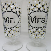 Mr. and Mrs. Stemware Toasting Glasses - Black, White and Gold