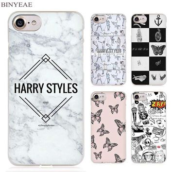 BINYEAE Harry One Direction Tattoos Clear Cell Phone Case Cover for Apple iPhone 4 4s 5 5s SE 5c 6 6s 7 Plus
