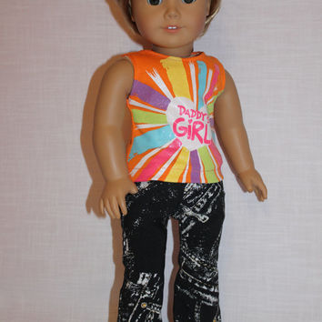 "2 piece set, ""Daddy's Girl""  graphic print tank top,  black and white denim flare leg jeans ,18 inch doll clothes, American girl, Maplelea"