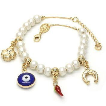 Gold Layered 03.32.0112.08 Charm Bracelet, Greek Eye and Four-leaf Clover Design, with Ivory Mother of Pearl, Polished Finish, Golden Tone