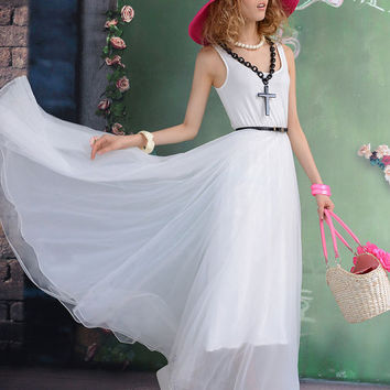 Women's Bohemian Maxi Dress Short Sleeve Chiffon by luckystore829