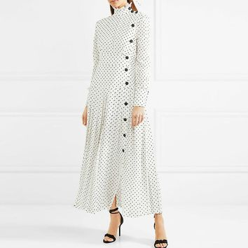 SHENGPALAE 20118 New Autumn Stand Collar Dress White Dot Printing Long Sleeve Vintage Fashion Tide Buttons Women Dress FF066