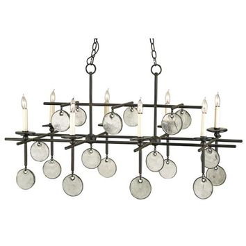 Currey & Company 9124 Sethos Old Iron/Recycled Glass Eight-Light Rectangular Chandelier