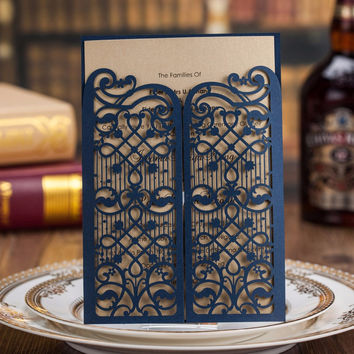 Dark Blue Laser Cut Wedding Invitations Kits Open Gate 100PCS