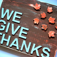 Give Thanks Sign - Thanksgiving Fall Decor - Shabby Chic Sign - Fall Sign - Fall Leaves