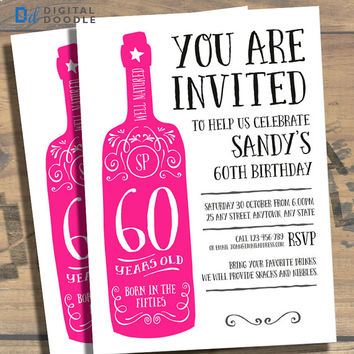 Personalized, 60th Birthday Invitation, 60th Birthday, Birthday Invite, 60 Birthday, Milestone, Printable, Invite, Template, For Women