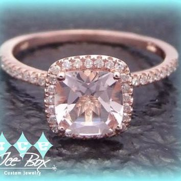 Morganite Engagement Ring cushion cut 10K Rose Gold, Halo