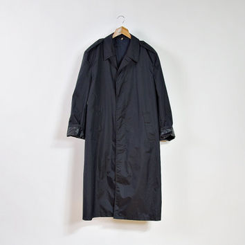 70s NORION Black Unisex Raincoat / Made in Norway / Minimalist Trench Coat / Men size M-L / Women size L-XL