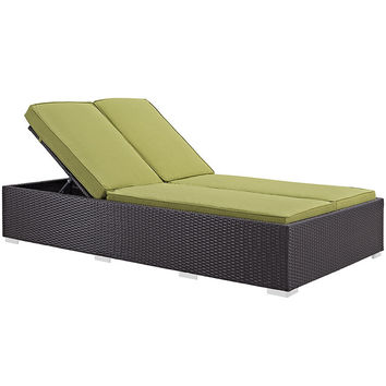 Evince Outdoor Patio Chaise in Espresso Peridot