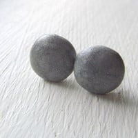 Polymer Clay Earrings - Polymer Clay Studs -  10mm Silver Round Stud Earrings