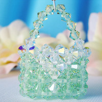 Crystal Keychain Green Crystal Purse Key Chain Women's Key Ring