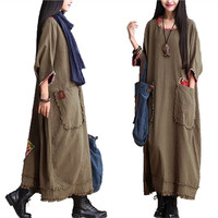 Large Size Maxi Dress Women Winter Linen Dresses Long Sleeve Loose Dress Long Straight Vestido Longo Chinese Robe Muslim Robes