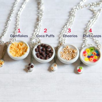 BFF cereal bowl necklaces miniature cheerios fruit loops cornflakes coca puffs and milk