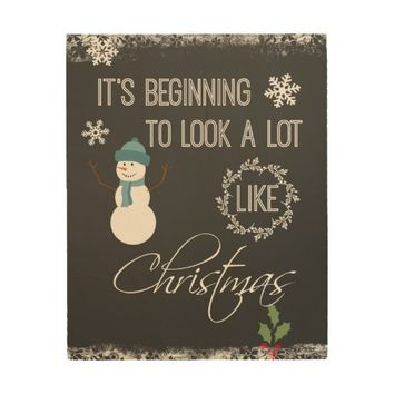 Christmas Quote Typography Wood Wall Art