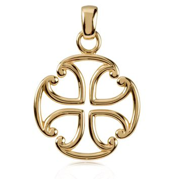 14k Yellow Gold Maltese Cross Pendant