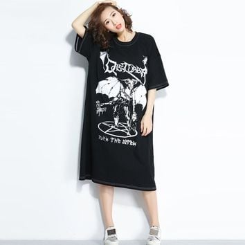 Plus Size Robe Summer Goth Horror Print Hipster Dresses