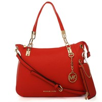 Perfect Michael Kors MK Women Shopping Bag Leather Satchel Handbag Shoulder Bag Two piece Set
