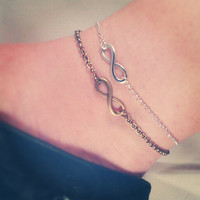 Infinity/Eternity Anklet - Silver Plated / Antique Bronze Tone, Extendible