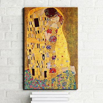 Gustav Klimt Kiss Canvas Paintings On The Wall, Replica Famous Painting For Living Room, Figure Posters And Prints Unframed