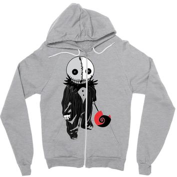 creepy doll trick or treat Zipper Hoodie