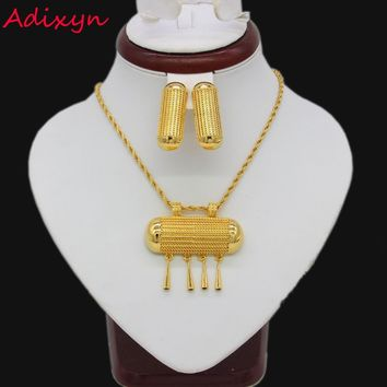 NEW Ethiopian Bridal Jewelry sets Gold Color Necklace/Earrings/Pendan India/African/Dubai/Ethiopia/Nigeria/Arabic Women Gifts