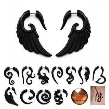2Pcs Acrylic Black Fake Spiral Ear Taper Plug Gauges Twist Expanders Earring Cheater Stretchers Piercing Body Jewelry