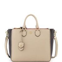 Robinson Double-Zip Square Tote Bag, Beige/Black/Cab - Tory Burch
