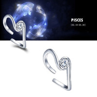 925 Sterling Silver 12 Constellations Zodiac Crystal Ring (Pisces)