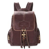 Retro Brown Button Leather Travel Backpack School Bag