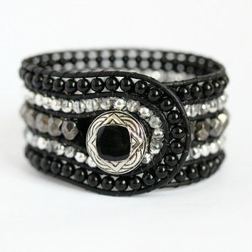 Hematite Beaded Leather Cuff, 5 Row, Wrap Bracelet, Black, Charcoal, Silver, Handmade, Leather Jewelry, Black Bracelet