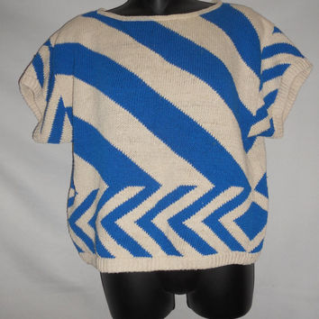 Vintage 80s Liz Claiborne Petites Blue Off White Striped Knit Sweater Blouse Short Sleeve Medium