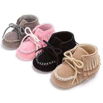 Toddler Baby Girls Tassel Warm Booties Crib Shoes Soft Sole Sneaker Prewalker US