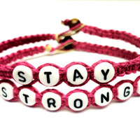 Stay Strong Bracelet Set, Dark Pink Macrame Hemp Jewelry, Recovery Bracelet