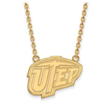 NCAA 10k Yellow Gold U of Texas at El Paso Large Pendant Necklace