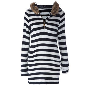 Brief Hooded Striped Long Sleeve Dress For Women