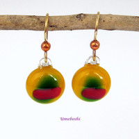 Colorful Cabochons Fused Glass Dangle Drop Earrings - Handmade Fused Glass Jewelry Yellow, Green, Red