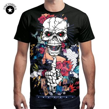 Skull T-Shirt Flower Shirt Rose Streetwear Rock Clothing 3d T Shirt Men Clothes Funny Tee Top Summer