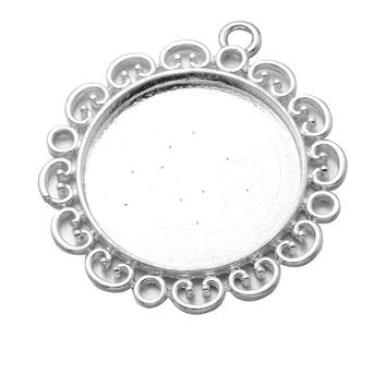10pcs/lot Silver Plated Pendant Settings Flower Lace Cabochons Bases Bezel Trays Fit 30mm Cabochon Cameo DIY Necklace Making